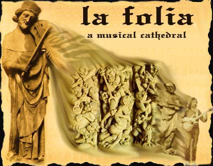 symbolic portrayal of the Folia-imagination, violinist taken from a sculpture of the Strasbourg Cathedral, France (west portal, middle section)